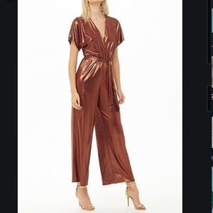 Rose gold copper burgundy metallic jumpsuit NWT